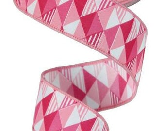 "1.5""X10yd Triangles Pink Tones"