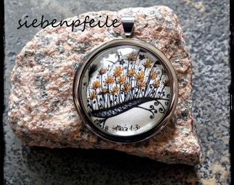 "LimitedEdition cabochon pendant ""happy"" (inspired by Zentangle®)"