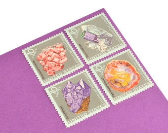 24 Pastel Mineral Stamps - 10c - Vintage from 1974 - Unused Postage - Quantity of 24