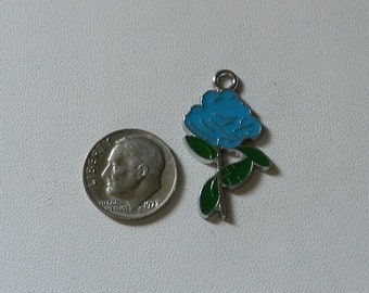 Silver Enameled Blue Rose Charm 1 pieces V5148