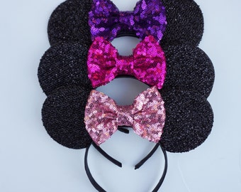minnie mouse ears for babies and kids: purple, fuchsia, or pink