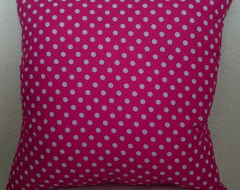 Polka Dot Stuffed Throw Pillow with Hot Pink Back