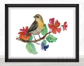 Bird Watercolor Art Print,Poster, Wall Art, Home Decor, Archival Print, Kids Wall Art, Nursery Wall Art