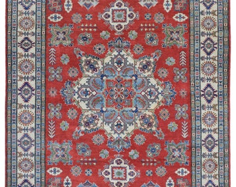 Red and Beige Large Pakistan Kazak Oriental Rug 8'1X9'5