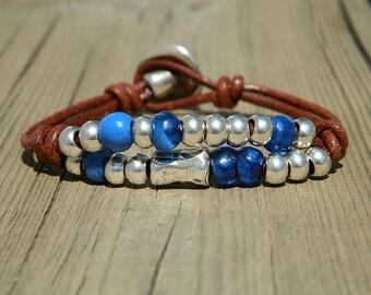 Wrap Boho bracelet,wrap bracelet,leather wrap bracelet,beaded wrap bracelet,leather bracelet, silver plated,beaded bracelet,PR005