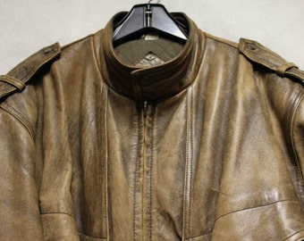 Vintage Men's Bomber Jacket by Chia, Genuine Leather, Brown, Size Large
