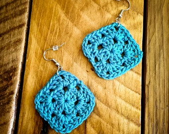 Turquoise granny squares crochet earrings