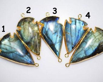 Labradorite Arrowhead Connector-Labradorite Arrowhead Electroplated With 24K Gold Plated Connector Pendant,39-50 mm(You Choose) AH128