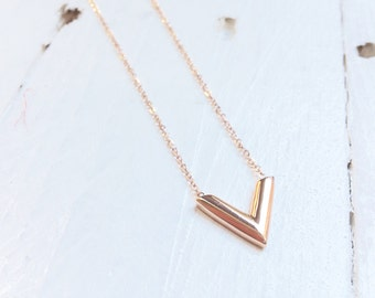 Dainty V Shape Pendant Minimalist Necklace Victory Charm Titanium with Rose Gold Plated