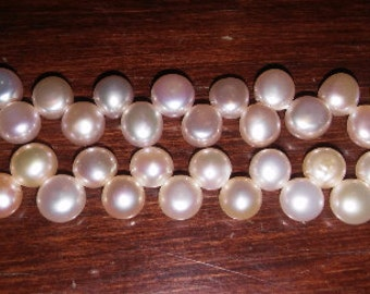 Top drilled pearls button pearls 8mm pearls peach pearls 6mm button pearls 6mm peach pearls