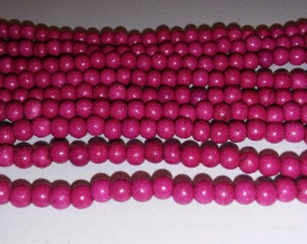 SALE! Pink howlite beads red howlite beads fuchsia howlite beads 4mm pink beads 4mm red beads 4mm howlite beads