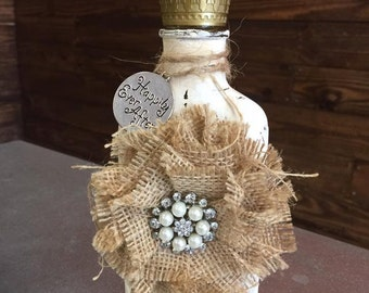 hand painted glass decor bottle