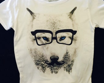 Hipster Wolf Tee