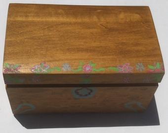 Vintage Hand Made Wooden Storage Box, Jewelry Box, Stash Box, Treasure Box, Keepsake Box, Hand Crafted, Quality Wood Box, Vintage Wood Box
