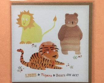 Lions and Tigers and Bears - OH MY! Square Recycled Greetings Card