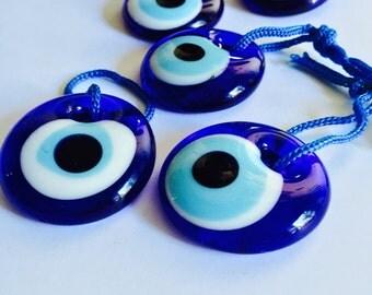 Turkish evil eye beads - 5pcs - 3.5cm - glass evil eye - nazar boncuk - unique wedding favor - evil eye wall hanging - greek evil eye beads