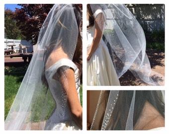 Chapel Length Veil, Wedding Veil,  Gorgeous beading on edge, Crystal and Pearls.