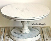 White cake stand Shabby white cake stand Wedding white cake stand White Cake Servers Hand made Portable Stand Rustic Wedding Decor Plate