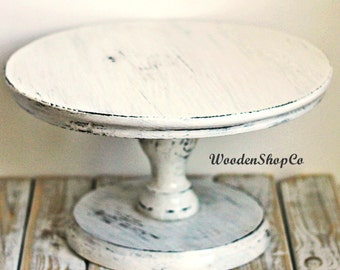 Custom Shabby white cake stand Wedding Shabby white cake stand Shabby Ivory Cake Stand Servers  Portable Stand Rustic Wedding Decor Plate