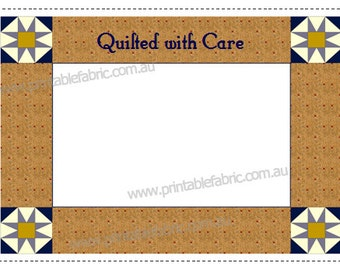 Quilt Label Patchwork Quilted With Care Cotton Label