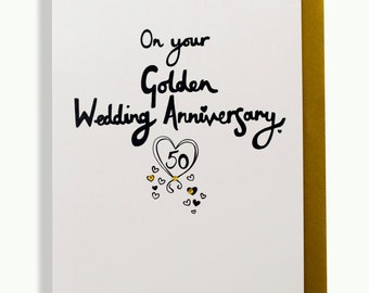 On your golden 50th anniversary hand finished greetings card