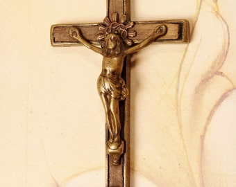 1800's antique Rosewood Crossbones Crucifix (R012)
