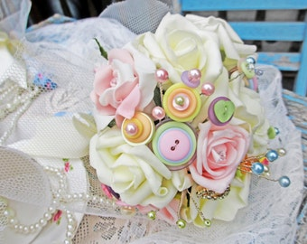 Handmade Rose & Button Wedding Bouquet