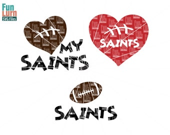Football SVG, Football season , Saints , Football, Love my Saints, Heart, ball ,Digital Cutting File, svg png dxf eps zip   svg file
