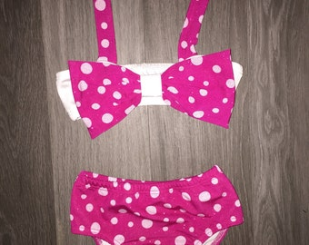 Minnie mouse inspired swimsuit girls bathing suit