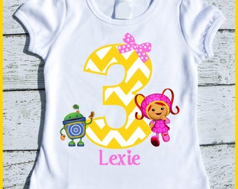 Custom Personalized Girl Millie Team Umizoomi Birthday tee shirt with Yellow chevron