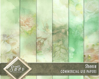 CU Commercial Use Background Papers set of 6 for Digital Scrapbooking or Craft projects SHEESE Papers, Designer Stock Papers