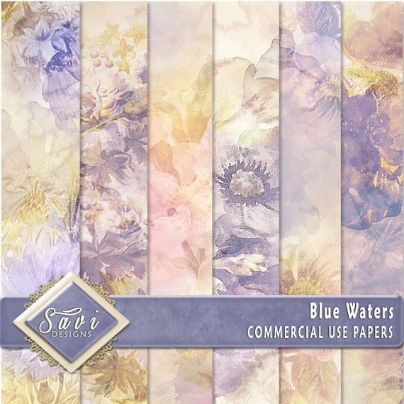 CU Commercial Use Background Papers set of 6 for Digital Scrapbooking or Craft projects BLUE WATERS Papers, Designer Stock Papers