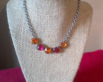 Swarovski crystal 5 stone necklace