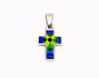 colored cross, enamel cross, silver enamel pendant, bright multi colored cross pendant, free shipping, gift for her, gift for him