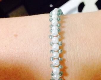 Bracelet beaded pearl seed beads Hands Made Jewelery