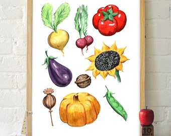 Vegetables Print Decor Wall Art Printable Kitchen Decoration Nursery Print Watercolor Print Poster Tomato Pumpkin Eggplant