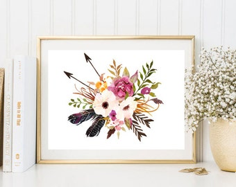 Rustic watercolor print flowers feather arrows pink purple watercolor wall art print printable floral print watercolor poster home decor