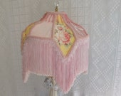 SALE Pink Shabby Victorian Lampshade White Vintage Lamp Yellow Accents Crystals