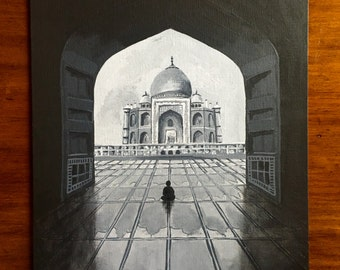 11x14 Acrylic Painting of child sitting in front of Taj Mahal