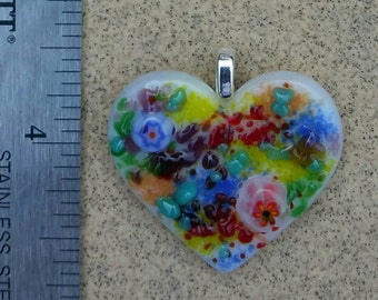 Fused Glass Heart Multicolored Jewelry Pendant