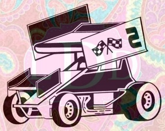 Sprint Car Cut File- SVG, DXF, EPS, Jpg, Pdf & Mtc- Instant Download