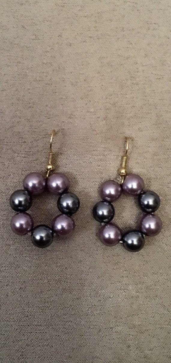 Purple and Silver Pearl Hoop Earrings