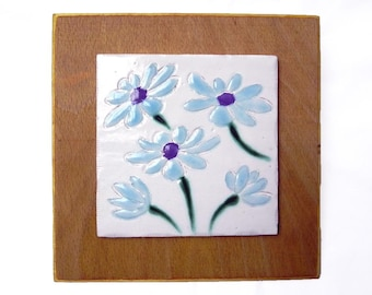 Ceramic Tile Wall Hanging of Daisies
