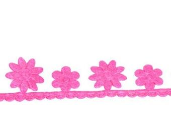Tape felt flowers Fuchsia 3 meters - Ribbon flower