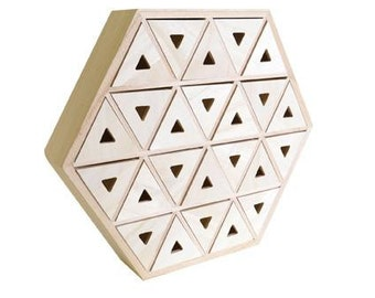 Cabinet 24 drawers Triangle Hexagonal wooden a customize