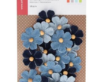 18 flowers in fabrics Denim Pearl wood - flower Jeans - flower blue - flower embellishment
