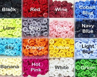 200 pieces Round 4 Hole Buttons, Mixed Color Buttons, Assorted 16 Color resin button, Round Fasteners Sewing Knitting Buttons 11mm Buttons