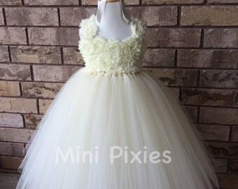 Ivory flower girl dress, Ivory dress with flower straps, flower girl dress, ivory tutu dress, shabby chic flower dress