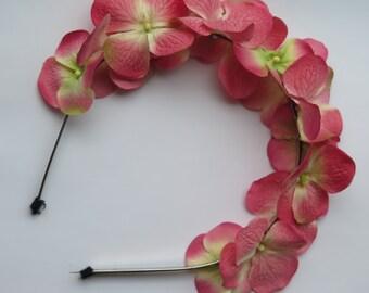 pink hydrangea flower headband for girls