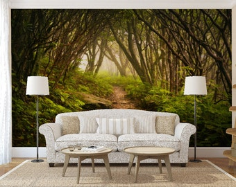 Mystical forest wall mural, self adhesive photo mural